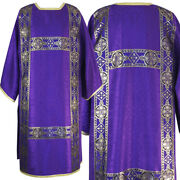 Traditional Semi-gothic Dalmatic, Damask, Open Sides, Woven Orphrey