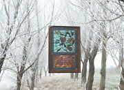 Antique American Stained And Jeweled Glass Window In The Aesthetic Style