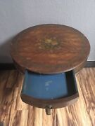 Rare Antique Round Drum Flame Mahogany Duncan Phyfe Adams Painted 1 Drawer Table