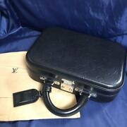 Used Louis Vuitton Hard Trunk Vary Set Pm Black W/name Tag And Storage Bag Rare