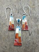 Peruvian Silver Jewelry - Unique Inca Jewelry - Silver Earings And Pendant Set
