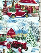 Christmas Tree Farm Red Trucks Snowmen And Red Barn By Timeless Treasures Bty