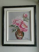 Hand Made Embroidery Framed Floral Wall Hanging Picture