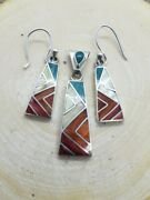 Peruvian Silver Jewelry - Unique Handmade Inca Jewelry Pendant And Earings Set