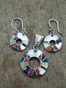 Peruvian Jewelry - Unique Handmade - Inca Jewelry Earings And Pendant Silver Set