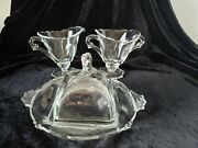 Heisey Waverly Optic Set Covered Butter Cream Sugar No Etch Horse Finial Blank