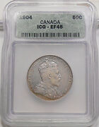 1904 Fifty Cents Icg Ef-45 High Grade Rare Edward Vii Canada 50andcent