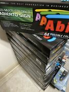 Led Multi- Colored Abierto Sign 64 Green Lightprossible Color Combinations New