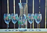 Juice Carafe And 4 Stemmed Matching Glasses, Retro Country, Breakfast Juice Set