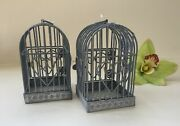 Lot Of 2 Antique-style Metal Gray Decorative Bird Cages Heart Shabby Chicrustic