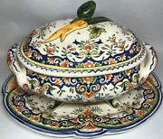 Rare Large Soup Tureen And Sound Dish Non Signed Decor Rouen Polychromos