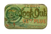 Rare 1910s Look Out Hinged Litho Pocket Tobacco Tin In Excellent Condition