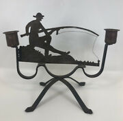 Vintage 1920andrsquos Arts And Crafts Copper Wrought Iron Folk Art Fisherman Candleholder