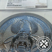 2018 10 Oz Silver Coin Ngc Ms 70 Great Britain Queenand039s Beasts - The Griffin