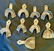 Lot Of 9 Vintage Dental Molds Impression Trays Metal Assorted Sizes And Brands