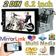 6.2 Inch Dvd Cd Receiver Double 2 Din Car Stereo Radio Mirror Link + Rear Camera