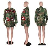 Women Camouflage Jacket Fashion Millitary Hot Sale Button Casual Jacket Outwear