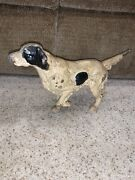 Antique Cast Iron Pointer English Setter Bird Dog Door Stop Possibly Hubley