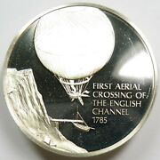 Silver History Of Flight English Channel 1785 Sterling Franklin Mint 22182d