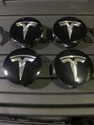 2012-19 Tesla S Oem Alloy Wheel Black Center Cap 6005879-00 71-5n Set Of 4 Pcs