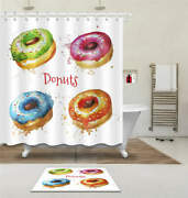 Multicolor Donuts Waterproof Bath Polyester Shower Curtain Liner Water Resistant