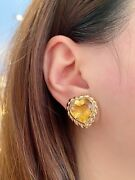 Italian 18k Yellow Gold Heart-shape Citrine Button Earrings --hm1669e