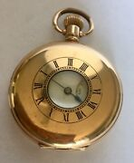 Antique Hamilton And Inches Demi Hunter Cased 10 Kt Gold Pocket Watch
