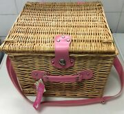 Two Person Wicker Picnic Floral Hamper Basket Bnwt Laura Ashley Type