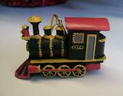 New Antique Toy Train Engine With Red Cab And Black Tank Christmas Ornament