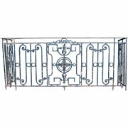 Antique French Louis Xvi Revival Wrought Iron Balcony C. 1900
