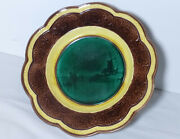 Majolica Wedgwood Dutch Windmill Harbor Scenic Picture Lion Footed Compote Stand