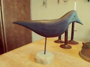 2018 Hand Carved Wooden Crow Decoy On Stand, Life Size 13 1/2 Signed By Carver