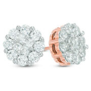 1ct Princess Cut Quad Natural Diamond Round Frame Stud Earrings In 10k Rose Gold