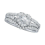 14k Solid White Gold 3/4ct Round Cut Natural Diamond Heart Engagement Bridal Set