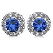 0.79 Ct Round Cut Cut Blue Sapphire And Diamond Halo Earrings 14k White Gold
