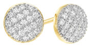 0.5 Ct White Natural Diamond Cluster Stud Earrings In 14k Yellow Gold