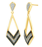 0.25 Ct Black And White Natural Diamond Chevron Drop Earrings In 10k Yellow Gold