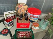 Coca Cola Bathroom Bundle Lot Of 8- Tins, Toothbrush, Soap Tray, Candle, Light