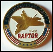 U.s. United States Air Force Usaf | F-22 Raptor | Gold Plated Challenge Coin