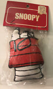 Vintage Snoopy Doghouse Fabric Mini Mascot Christmas Ornament Determined