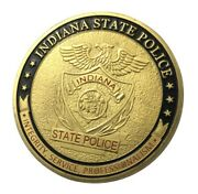 U.s. United States | Indiana State Police | Gold Plated Challenge Coin
