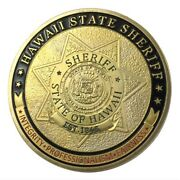 U.s. United States   Hawaii State Sheriff   Gold Plated Police Challenge Coin