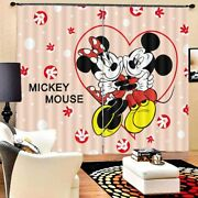 Mickey Mouse Heart 3d Blockout Photo Curtain Print Curtains Fabric Kids Window