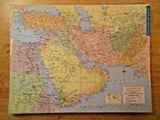 Vintage 1963 Near East - Middle East Map Old Mid- Century Original Map 102618