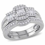 1/2ct Baguette And Round Diamond Cluster Frame 3-stone Bridal Set 10k White Gold