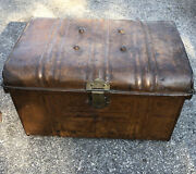 Antique T Turner And Co Trademark Brass Antique Hinged Trunk Chest Box