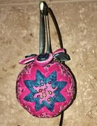 Quilted Fabric Christmas Ornament Ball Pink Blue Dot New Year Round Handmade 3