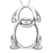 1/10 Ct Diamond One Love Puppy Dog Pendant In Sterling Silver