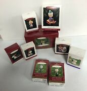 9 Hallmark 90and039s Peanuts Snoopy Charlie Brown And More Christmas Ornaments Boxed