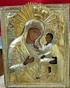 Finely Decorated An Icon Of Tikhvinskaya Mother Of God In Silver-gilt Oklad Rus